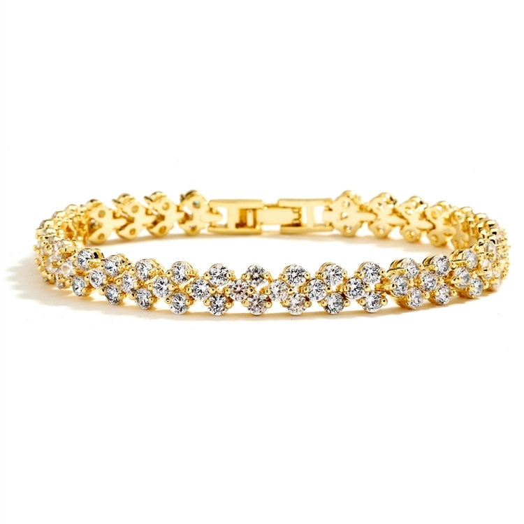 Petite Gold Cubic Zirconia Wedding or Prom Tennis Bracelet<br>4109B-G-6