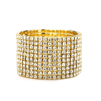 10-Row Clear Gold Rhinestone Wedding or Prom Stretch Bracelet<br>4124B-G