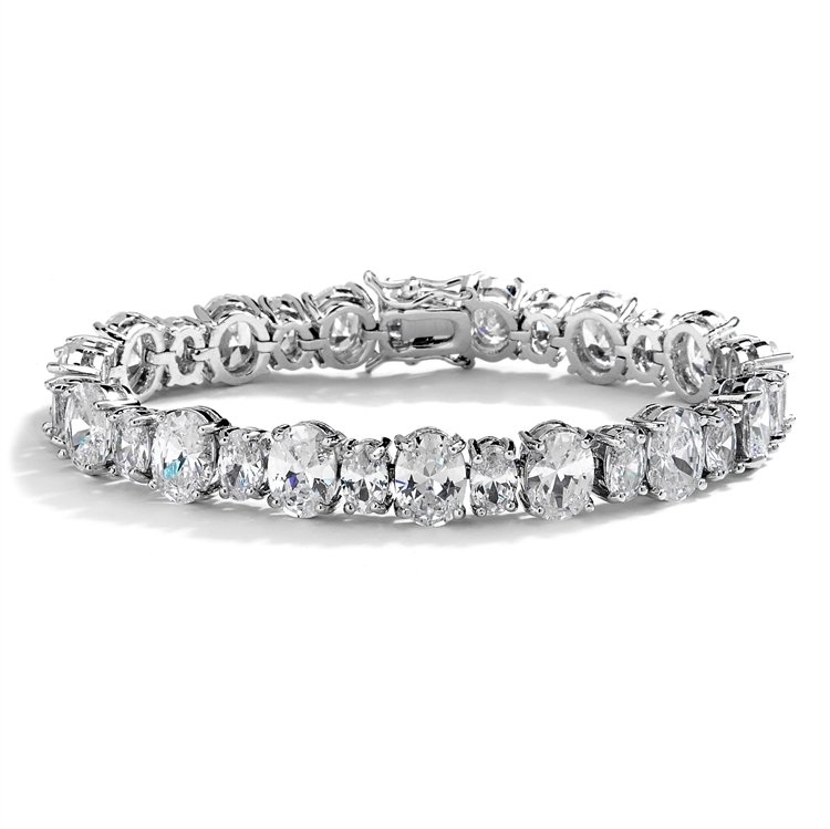 Spectacular Multi Ovals Silver Rhodium Cubic Zirconia Wedding or Pageant Bracelet<br>4125B-S-6