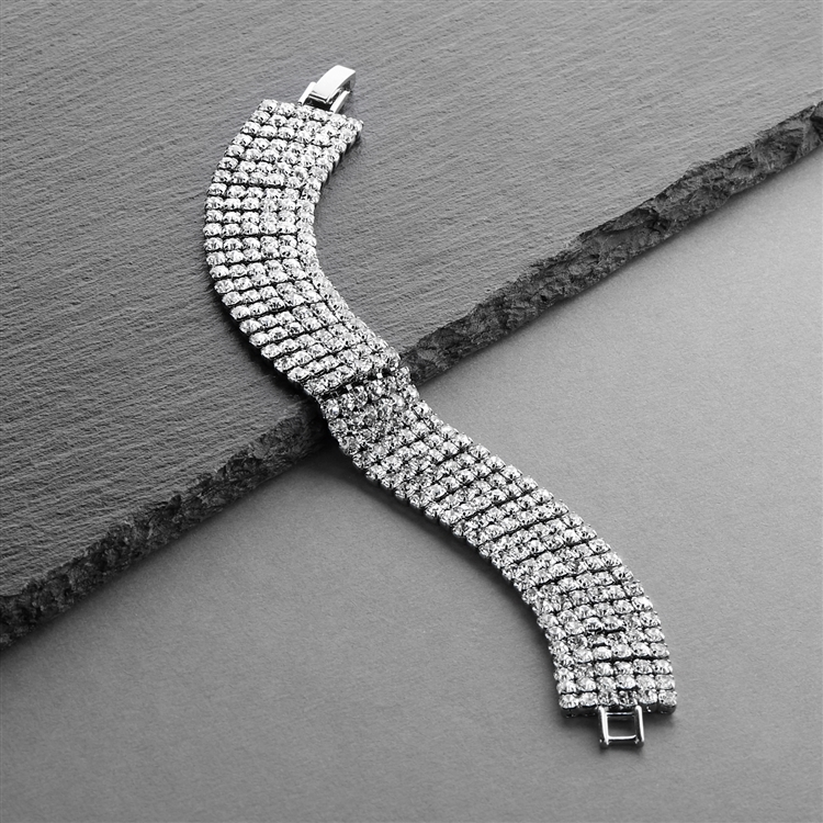 Petite Size 6-Row Rhinestone Prom or Homecoming Bracelet<br>4126B-S-6