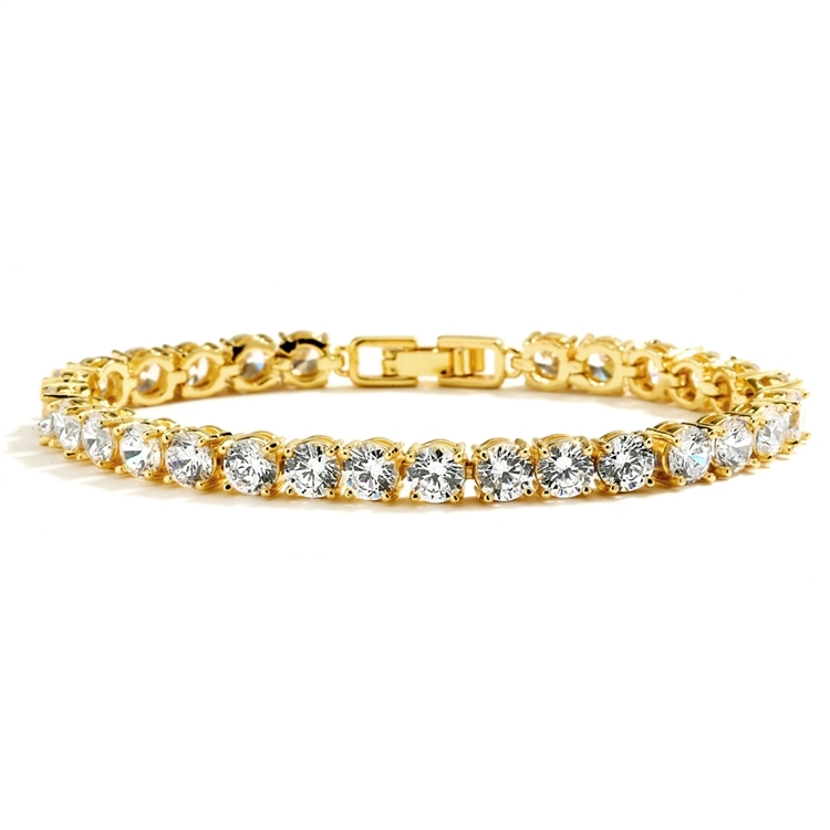 Glamorous 14K Gold Plated Bridal or Prom Tennis Bracelet in Petite Size<br>4127B-G-6