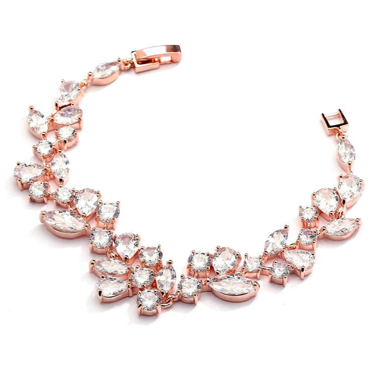 Top Selling Rose Gold Mosaic Shaped CZ Wedding Bracelet in 14K Gold Plating - Petite Size<br>4129B-RG-6