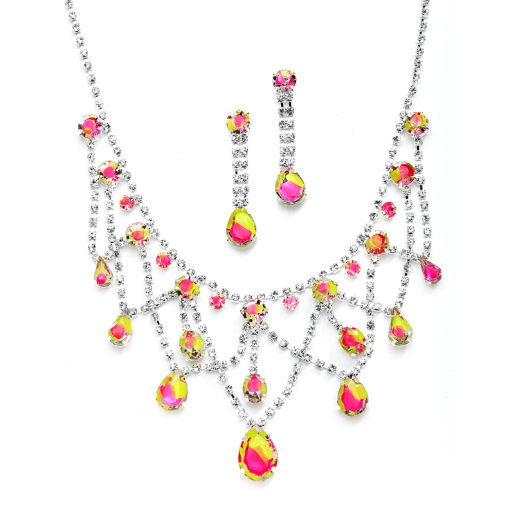 Hand-Painted Neon Rhinestone Prom or Bridesmaids Necklace & Earrings Set<br>4133S-NEMU