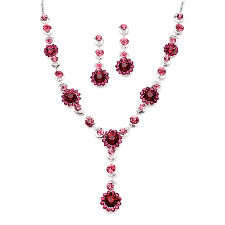 Fuchsia Multi Floral Drop Necklace Set for Prom or Bridesmaids<br>4152S-RA