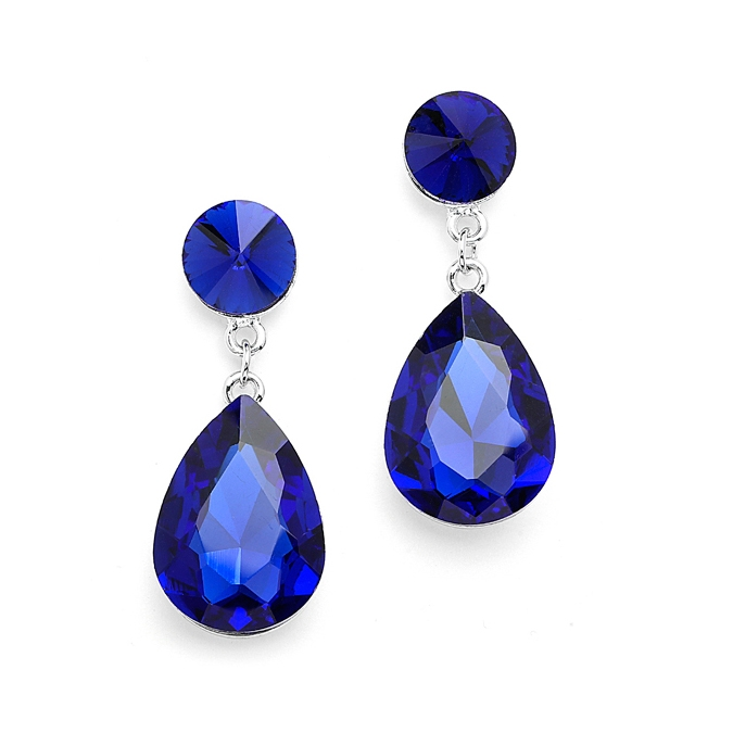 Color Splash Pear-shaped Drop Earrings - Sapphire<br>4161E-SA