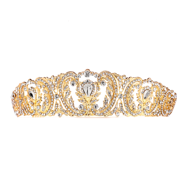 Retro Chic Vintage Gold Wedding Tiara with Pave Crystals<br>4186T-G