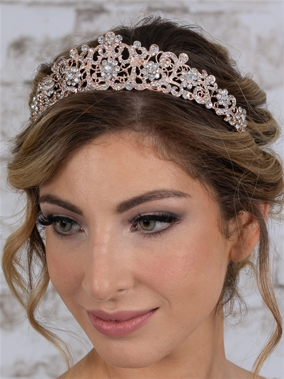 Vintage Bridal, Wedding or Prom Rose Gold Tiara with Clear Crystals<br>4187T-RG