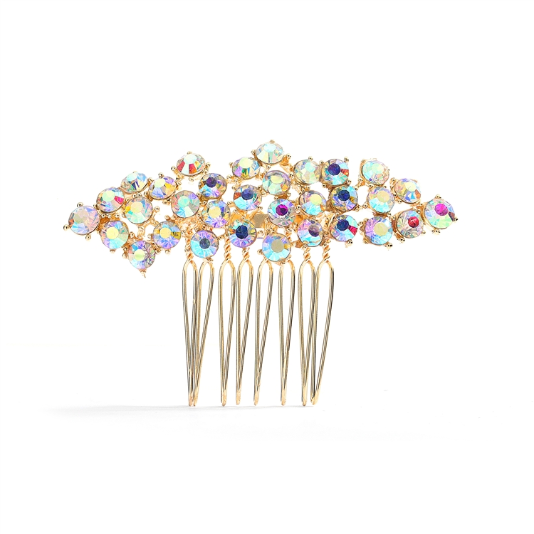 Best Selling Crystal Clusters Gold & AB Wedding or Prom Comb<br>4191HC-G-AB