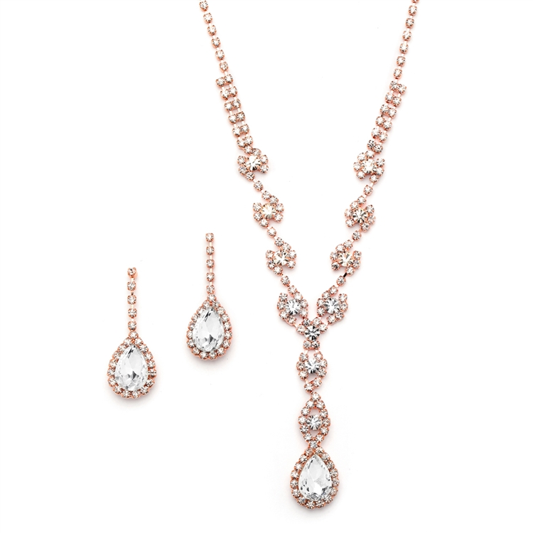 Dramatic Rhinestone Prom or Wedding Necklace Set with Pear Drops<br>4231S-RG