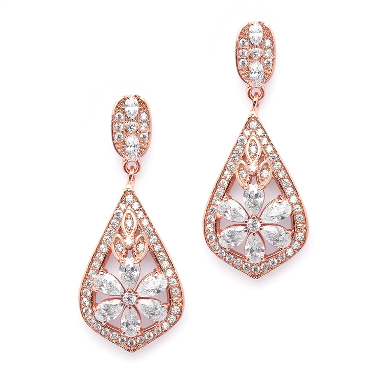 Sophisticated Rose Gold Art Deco CZ Wedding Earrings<br>4237E-RG