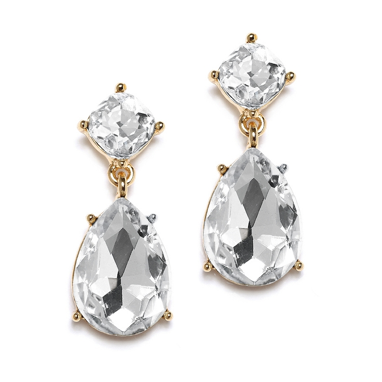 Gold Drop Earrings for Weddings or Proms<br>4292E-CR-G