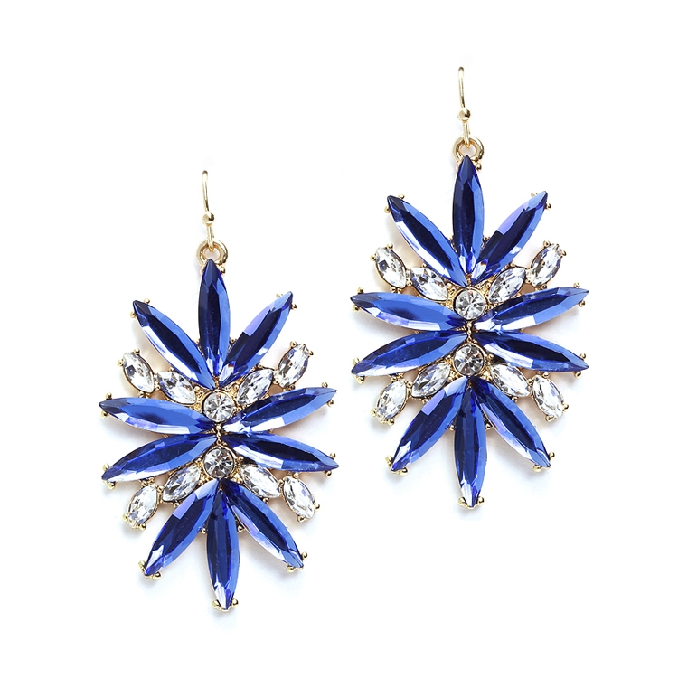 Sapphire Starburst Bling Earrings for Prom or Homecoming<br>4294E-SA-G