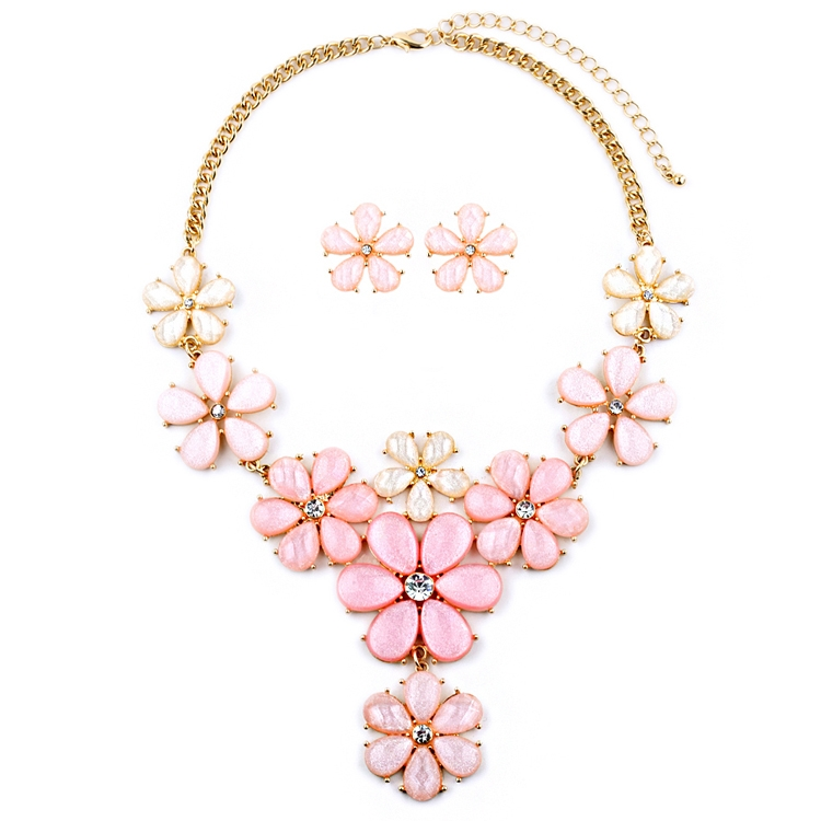 Light Pink Flower Power Statement Necklace Set<br>4335S-LTPK-G