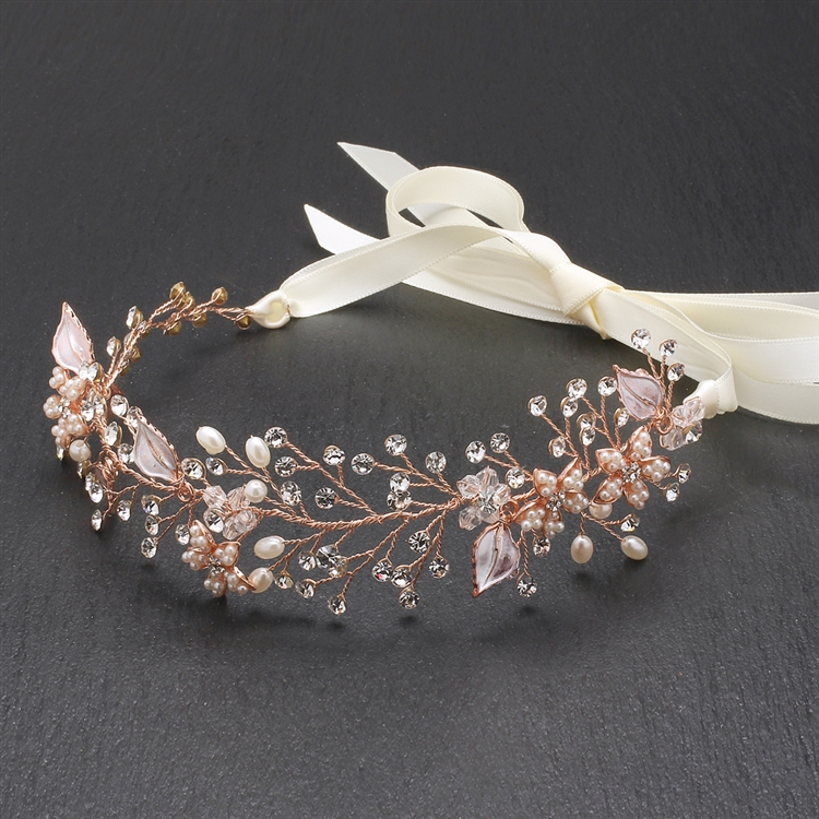 Best-Selling Bridal Headband with Hand Painted Rose Gold and Silver Leaves<br>4384HB-I-RG