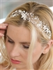 Best-Selling Bridal Ribbon Headband with Hand Painted Silver Leaves<br>4384HB-I-S