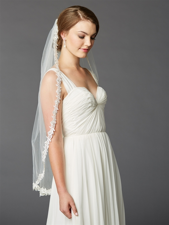 Single Layer Fingertip Lace Edge Mantilla Wedding Veil with Beads & Sequins<br>4415V-I