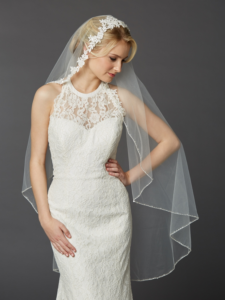 Semi-Waltz Ballet Length One Tier Bridal Veil with Beaded Lace Top<br>4420V-I
