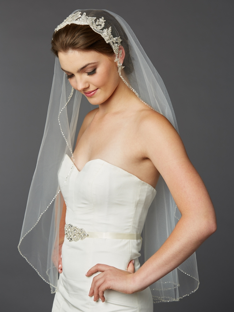 1-Layer Fingertip Bridal Veil with Embroidered Silver Lace Applique Headpiece<br>4421V-I-S