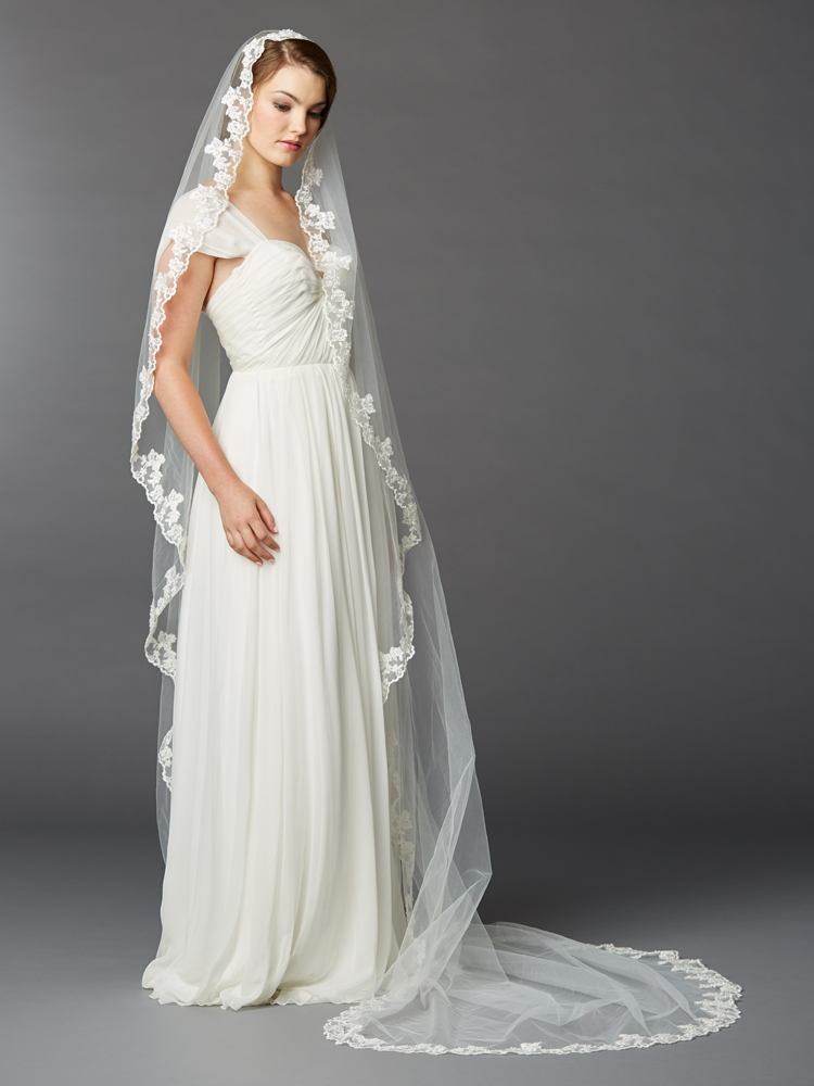 Single Layer Cathedral Mantilla Bridal Veil with Scalloped Lace Edge <br>4423V-I
