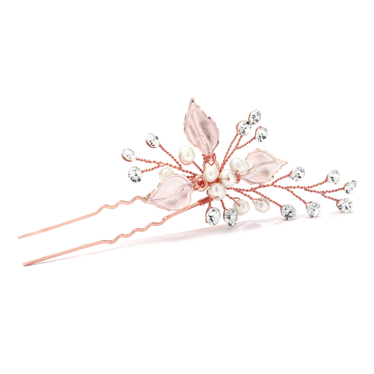 Top Selling Bridal Hair Pin with Silvery Rose Gold Leaves, Freshwater Pearl and Crystal Sprays<br>4426HC-I-RG