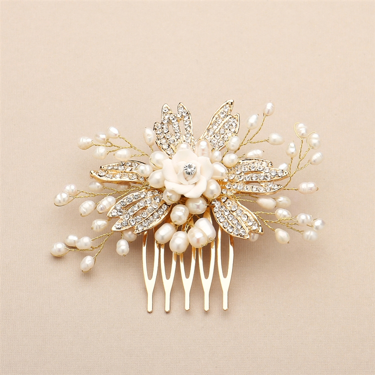 Golden Freshwater Pearl Wedding Comb with Pave Crystals and Delicate Flower<br>4428HC-I-G