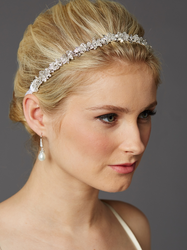 Slender Bridal Headband with Hand-wired Crystal Clusters and White Ribbons<br>4431HB-W