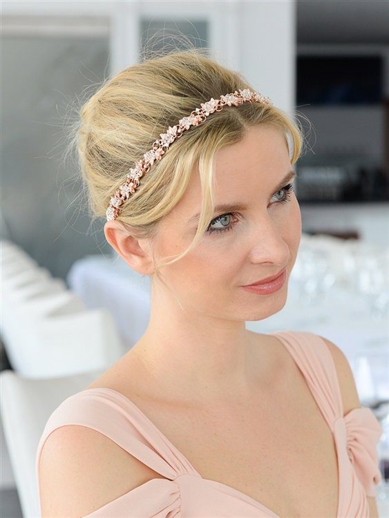 Slender Rose Gold Bridal Headband with Hand-wired Crystal Clusters and White Ribbons<br>4431HB-W-RG