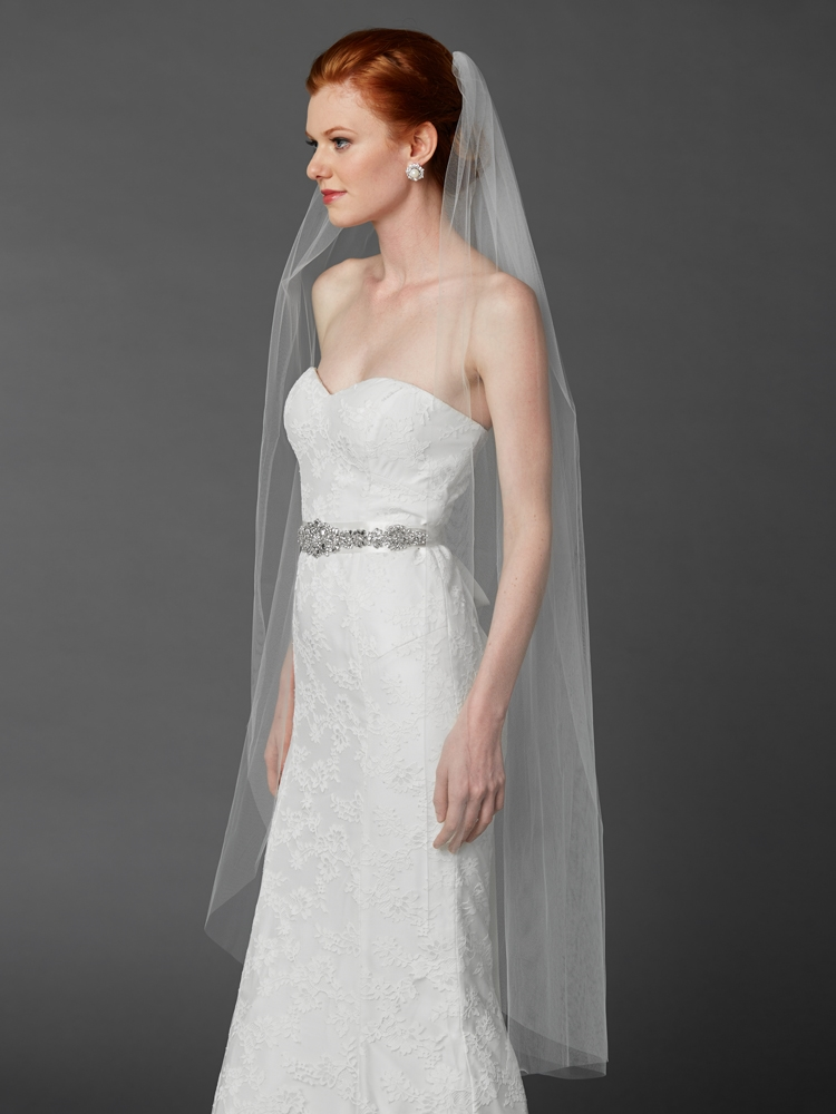 Ballet or Semi Waltz One Layer White Cut Edge Bridal Veil<br>4433V-52-W
