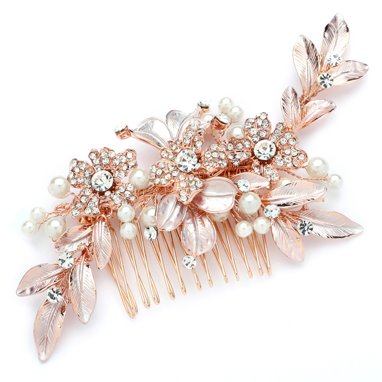 Designer Bridal Hair Comb with Hand Painted Rose Gold Leaves and Pave Crystals<br>4437HC-I-RG