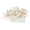 Couture Bridal Hair Comb with Hand Painted Gold Leaves, Freshwater Pearls and Crystals<br>4439HC-I-LTG