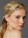 Hand-Enameled Floral Headband Crown with Preciosa Crystal Drapes<br>4446HB-I-G