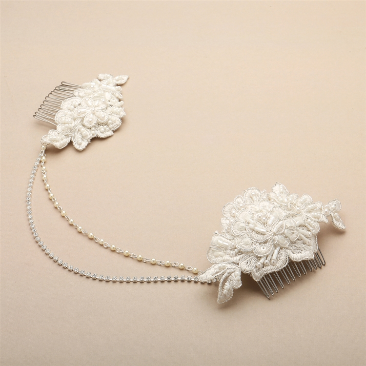 Double English Rose Ivory Lace Combs with Pearl and Crystal Swags <br>4450HC-LTI