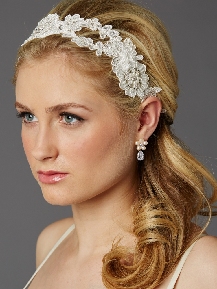 Handmade European Lace Open Vine Bridal Headband<br>4451HB-LTI