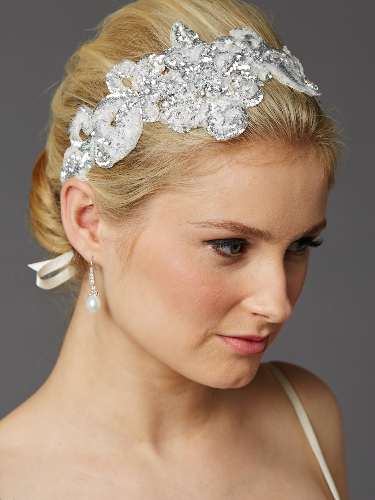 Hand-Made Glistening Silver Sequin Lace Bridal Headband<br>4453HB-S-I