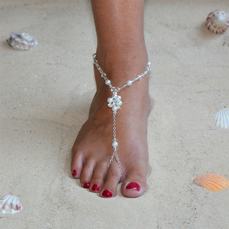 Barefoot Bridal Sandal Foot Jewelry with Pearl and Crystal Anklet<br>4462FT-W-CR-S