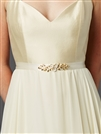 Hand Enameled Tea Rose Designer Bridal Sash Belt in Ivory Gold<br>4482BT-I-G