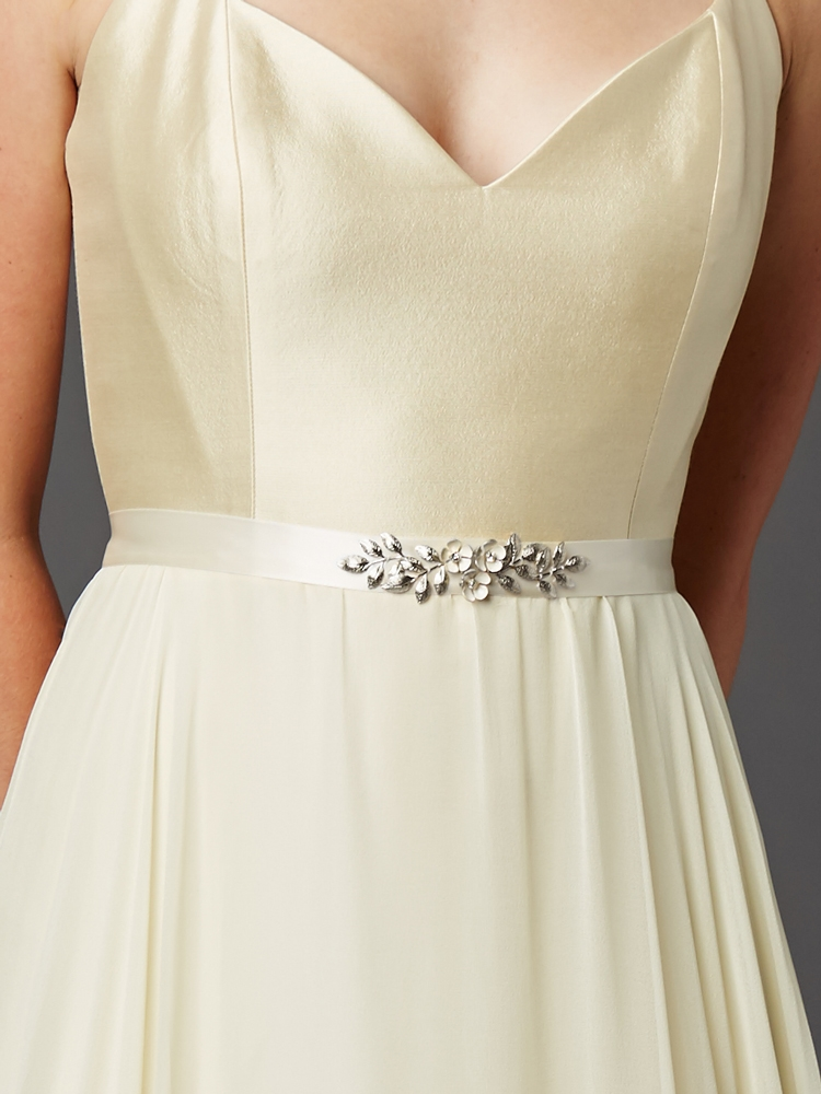 Hand Enameled Ivory Tea Rose Designer Bridal Sash Belt<br>4482BT-I-S