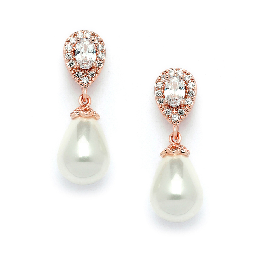 CZ Pear Bridal Earrings with Bold Soft Cream Pearl Drops<br>4516E-I-RG