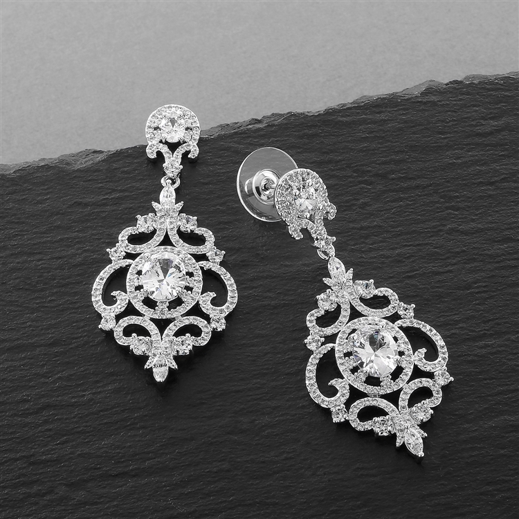 Victorian Scrolls Silver Platinum Plated Cubic Zirconia Wedding Chandelier Earrings<br>4553E-S
