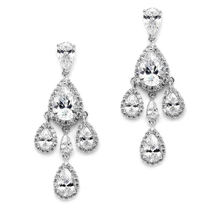 Petite Clip On CZ Chandelier Earrings with Platinum Pear-Shaped Halo Teardrops<br>4555EC-S