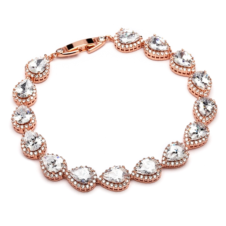 Top Selling Petite Size CZ Framed Pears Bridal or Bridesmaids Rose Gold Bracelet<br>4562B-RG-6