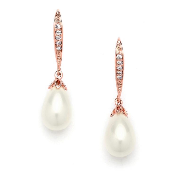 Vintage French Wire Wedding Earrings with Pearl Teardrops with CZ Pave<br>4563E-I-RG
