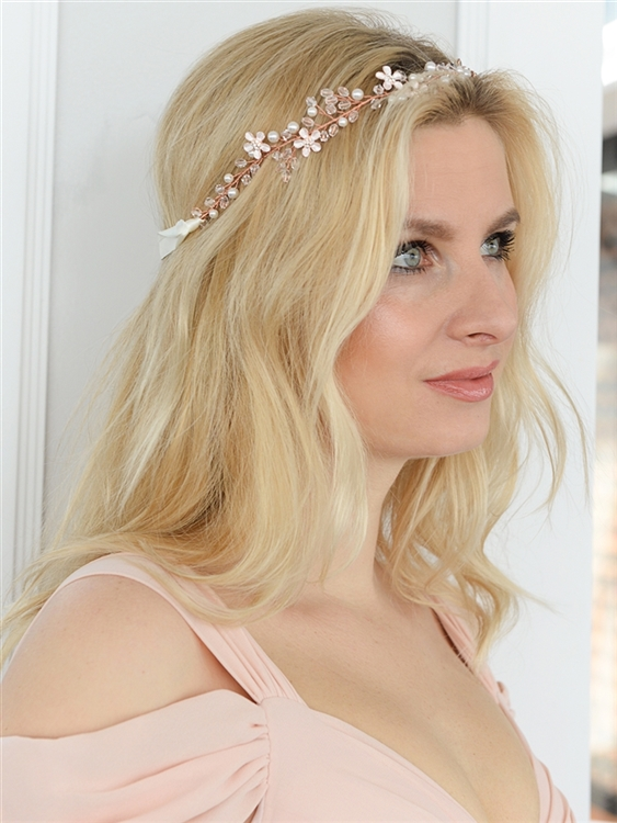 Designer Handmade Rose Gold Bridal Headband with Dainty Floral Vines<br>4564HB-I-RG