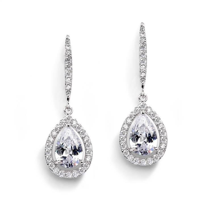 Magnificent Pear Shape Cut CZ Bridal or Pageant Earrings in Silver Platinum<br>4575E-S
