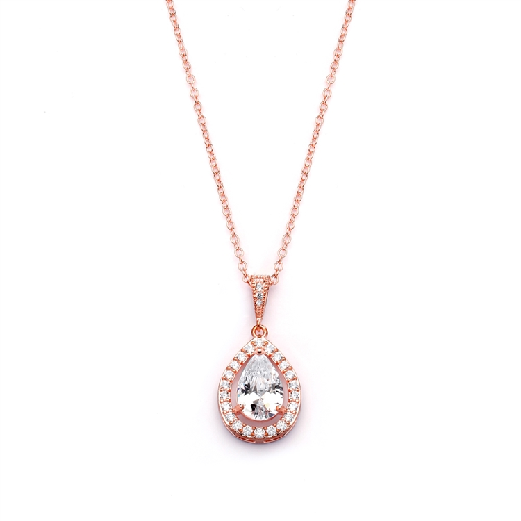Couture Rose Gold Cubic Zirconia Framed Pear-Shaped Bridal Necklace<br>4575N-RG