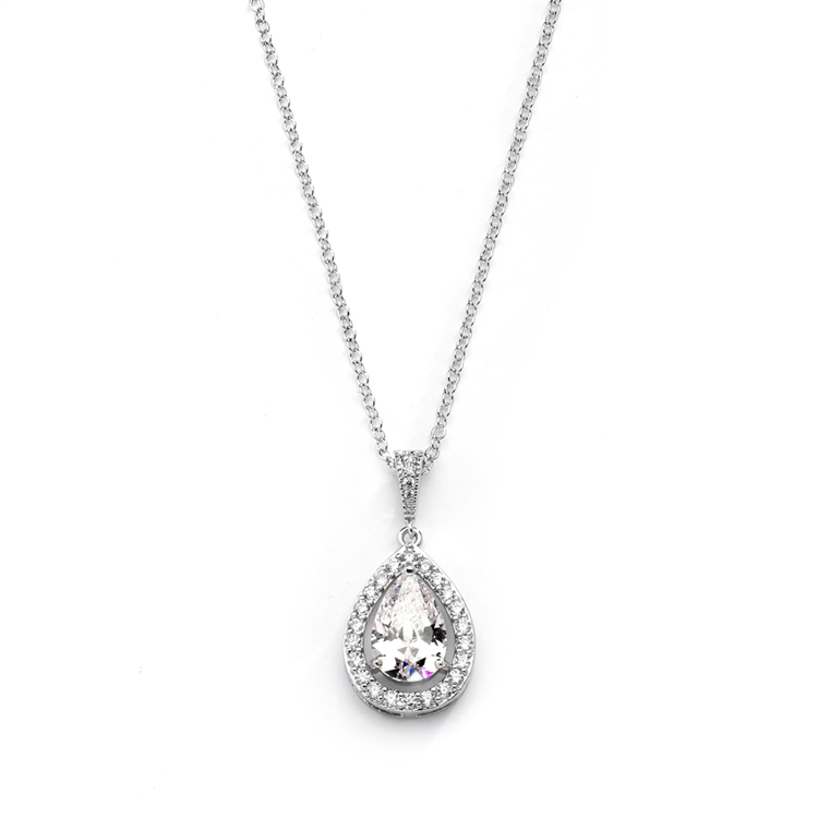 Couture Cubic Zirconia Framed Pear-Shaped Bridal Necklace<br>4575N-S