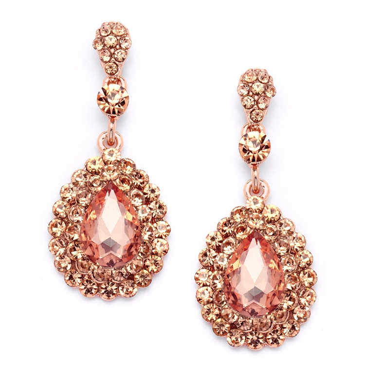 Prom or Bridesmaids Rose Gold Teardrop Statement Earrings with Peach Crystal Accents<br>4576E-PCH-RG
