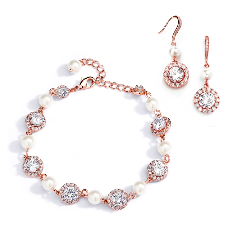 Ivory Pearl and Cubic Zirconia Bridal Bracelet and Earrings Set in Rose Gold<br>4580BS-I-RG