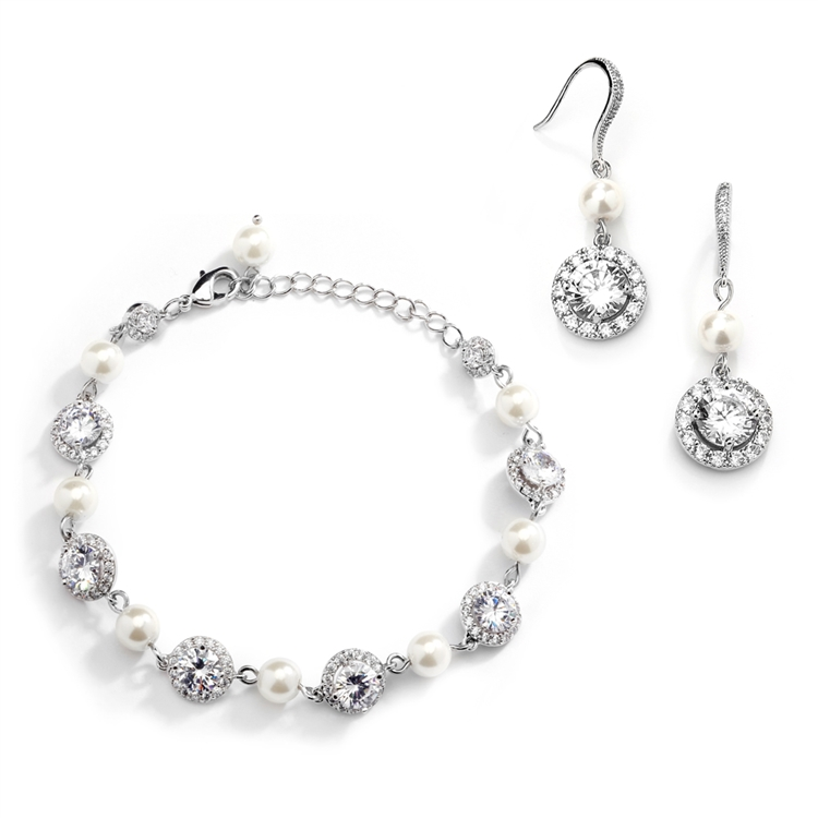 Ivory Pearl and Cubic Zirconia Bridal Bracelet and Earrings Set<br>4580BS-I-S