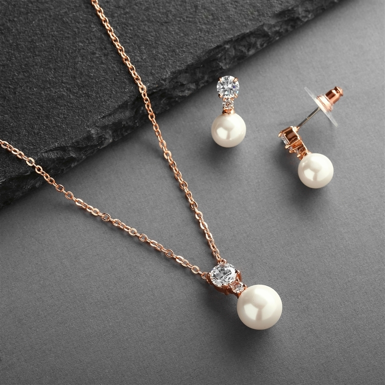 Rose Gold Pearl Drop Necklace Set with Round CZ<br>4581S-I-RG